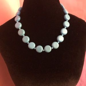 Vintage Blue Discs and Beads Statement Necklace